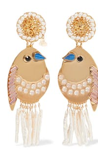 MERCEDES SALAZAR - BIRD GOLD-TONE, FAUX PEARL AND CRYSTAL CLIP EARRINGS